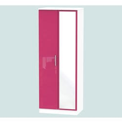 Hatherley High Gloss 2 Door Mirrored Wardrobe in White and Pink