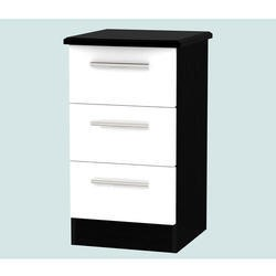 Welcome Furniture Knightsbridge 3 Drawer Bedside Chest in White and Black High Gloss