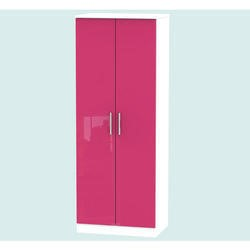 Hatherley High Gloss 2 Door Wardrobe in White and Pink