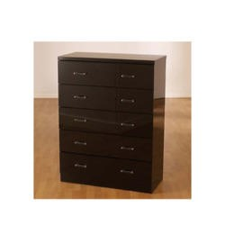 Seconique Charisma High Gloss 5 Drawer Chest in Black