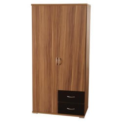 Seconique Hollywood Walnut and High Gloss 2 Door 2 Drawer Wardrobe