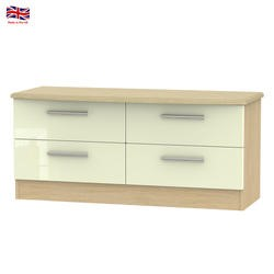 Knightsbridge High Gloss Small 4 Drawer Chest in Oak and Cream
