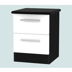 Welcome Furniture Knightsbridge 2 Drawer Bedside Chest in White and Black High Gloss