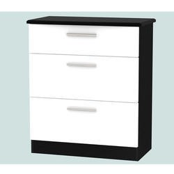 Welcome Furniture Knightsbridge 3 Drawer Chest in White and Black High Gloss
