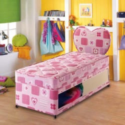 Airsprung Kids Beta Pink Divan and Mattress - small single
