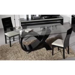 Sciae Electra High Gloss Dining Table with Glass Top