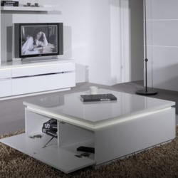 Skylight Electra High Gloss Square Coffee Table In White With LED Lighting