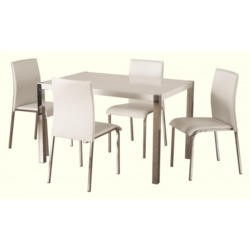 Seconique Charisma High Gloss Rectangular 4 Seater Dining Set in White