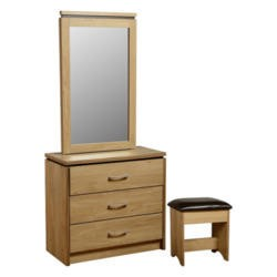 Seconique Charles Dressing Table Set in Oak