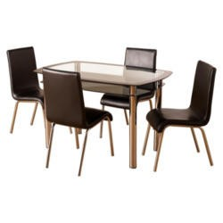 Seconique Harlequin Dining Set- Glass and Chrome Dining Table & 4 Black Faux Leather Dining Chairs