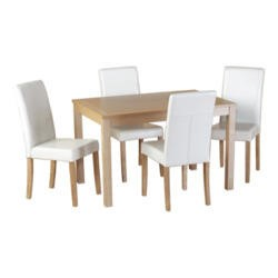 Seconique Oakmere Dining Set in Natural Oak with Cream Chairs