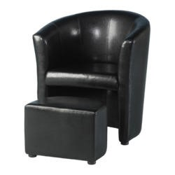 Seconique Tempo Tub Chair with Footstool in Black