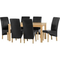 Seconique Belgravia Dining Set in Natural Oak with Black Chairs