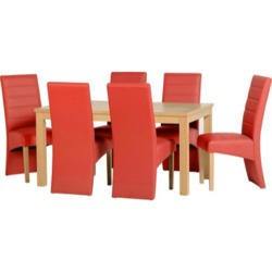 Seconique Belmont Dining Set in Natural Oak with Rustic Red Chairs