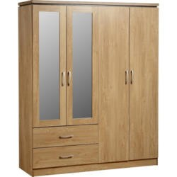Seconique Charles 4 Door 2 Drawer Mirrored Wardrobe in Oak
