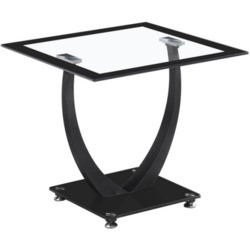 Seconique Henley Lamp Table in Glass and Black