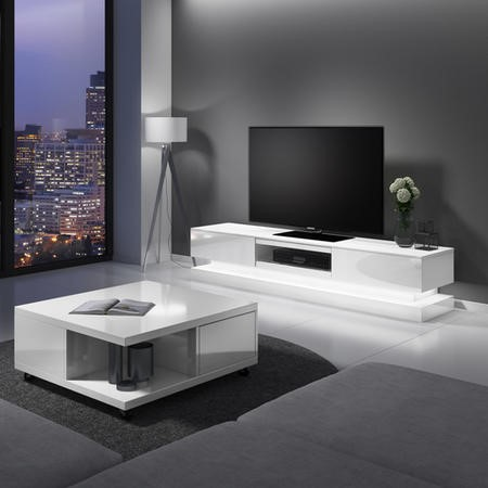 Evoque LED White High gloss TV Unit with Lower Lighting