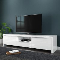 "Large White Gloss TV Unit with LED & Storage - TV's up to 56"" - Evoque"