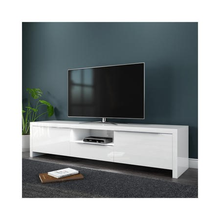 FOL300310 Evoque White High Gloss TV Unit Stand with LED Lighting