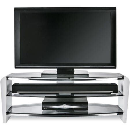 "FRN1100/3WHT/SK Alphason FRN1100/3WHT/SK Francium TV Stand for up to 50"" TVs - Smoked Glass"