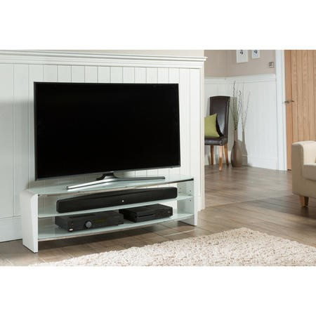 "Alphason FRN1400/ARCTIC Francium Arctic White TV Stand for up to 60"" TVs"