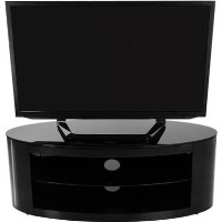 Buckingham Oval Affinity TV Stand 1100 Satin Black / Black Glass