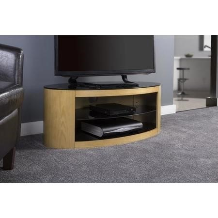 Buckingham Oval Affinity TV Stand 1100 Oak / Black Glass