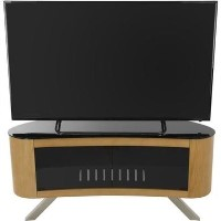 Bay Affinity Curved TV Stand 1150 Oak / Black Glass