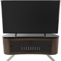 Bay Affinity Curved TV Stand 1150 Walnut / Black Glass