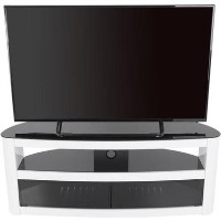 Burghley Affinity Curved TV Stand 1250 Gloss White / Black Glass