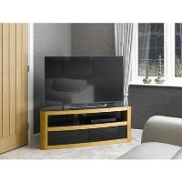 Burghley Affinity Curved TV Stand 1250 Oak / Black Glass