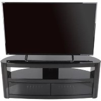 Burghley Affinity Curved TV Stand 1250 Piano Black / Black Glass