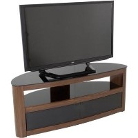 Burghley Affinity Curved TV Stand 1250 Walnut / Black Glass