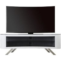 Bay Affinity Curved TV Stand 1500 Gloss White / Black Glass