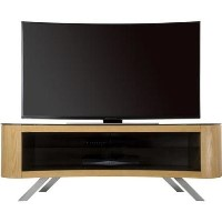 Bay Affinity Curved TV Stand 1500 Oak / Black Glass