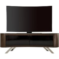 Bay Affinity Curved TV Stand 1500 Walnut / Black Glass