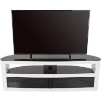 Burghley Affinity Curved TV Stand 1500 Gloss White / Black Glass