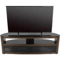 Burghley Affinity Curved TV Stand 1500 Walnut / Black Glass
