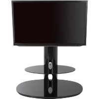 Chepstow Affinity Oval Pedestal TV Stand 930 Black / Black Glass