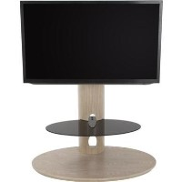 Chepstow Affinity Oval Pedestal TV Stand 930 Whitewashed Oak / Black Glass