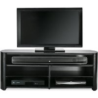 "Alphason FW1350SB-BLK Finewoods Soundbar TV Stand for up to 49"" TVs - Black/Oak"