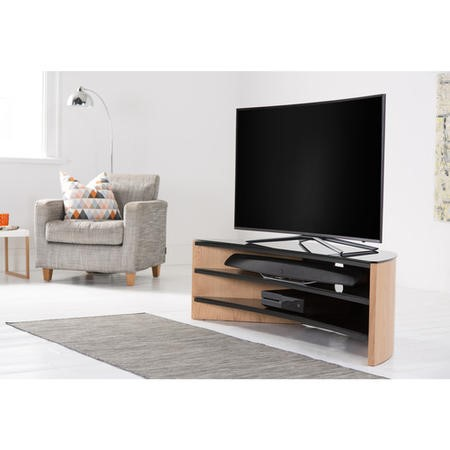 "FW1400C-LO Alphason FW1400C-LO Finewoods Corner Light Oak TV Stand for up to 60"" TVs"
