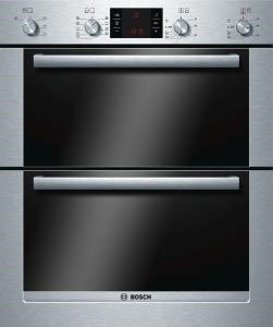 Bosch HBN53R550B Exxcel Electric Built-under Double Multifunction Oven - Brushed Steel