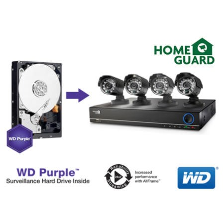 HomeGuard DIY 1TB 4 Channel CCTV Security Kit with 2x 480TVL Cameras