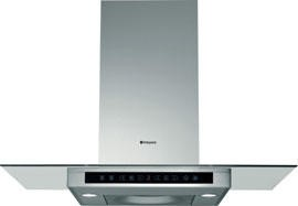 Hotpoint HTS93G Extra Quiet Flat Glass And Stainless Steel Chimney Cooker Hood