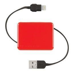 Retractable Charge & Sync Cable wit KeyChain for new Apple devices - Red