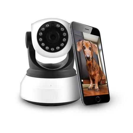 GRADE A1 - electriQ HD 720p Wifi Pet Monitoring Pan Tilt Zoom Camera with 2-way Audio & dedicated App