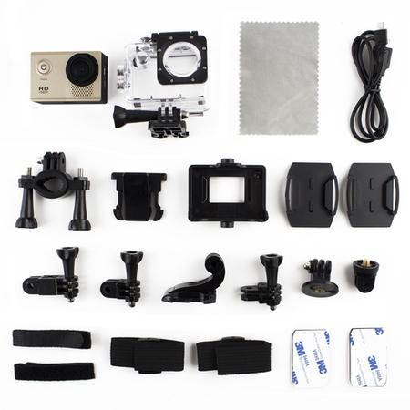 electriQ 1080P Sports Action Camera + Free Accessory Kit Included