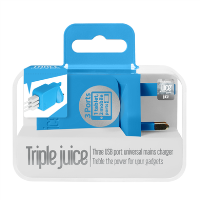 Juice 3.4AMP Triple Mains Charger - Blue