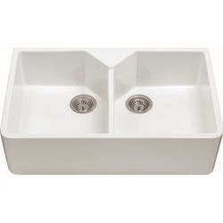 CDA KC12WH Double Bowl Ceramic Belfast Sink
